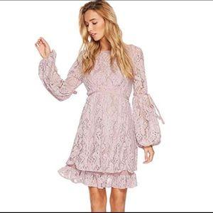 •Free People• Mauve Lace Long Sleeve Dress